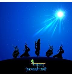 Lord Krishna doing Rash Leela in Janmasthami vector