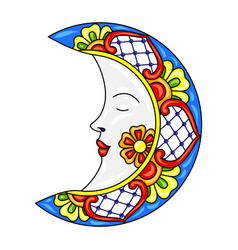 Mexican moon with ornamental flowers vector