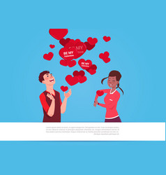 Mix race couple over heart shapes with be my vector
