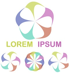 Multicolor round network logo design set vector image