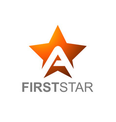 orange star logo with letter a with first star vector image