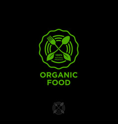 organic food logo green food leaves fork spoon veg vector image