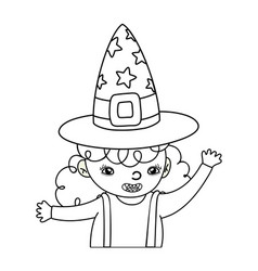 Outline happy girl with witch costume and hat vector