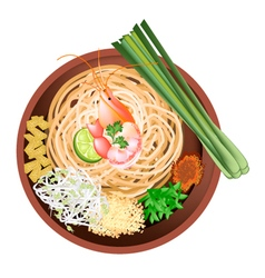 Pad Thai or Stir Fried Noodles with Prawn vector