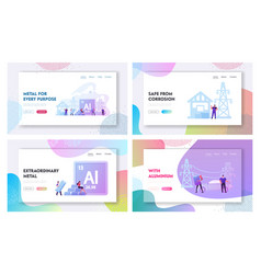 People use aluminium in life landing page template vector