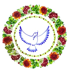 pigeon peace decorative circlet of flowers vector image
