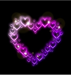 Pink heart border with sparkles vector