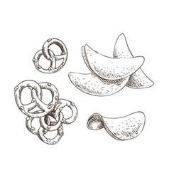 Pretzels and chips food set vector