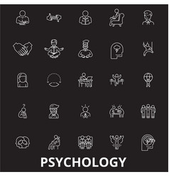 psychology editable line icons set on black vector image
