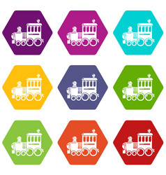 Railroad icons set 9 vector