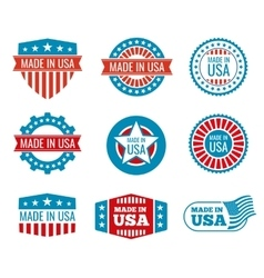 Red and blue made in the USA emblems set vector