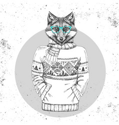 retro hipster animal fox dressed in pullover vector image