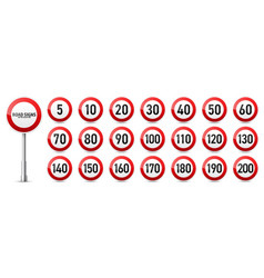 road signs collection traffic control sign speed vector image