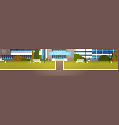 road to modern hospital building exterior clinic vector image