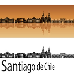 Santiago de Chile skyline in orange vector image