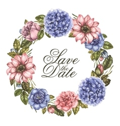Save the date watercolor greeting card with peony vector