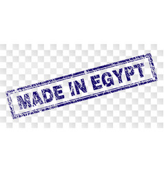 Scratched made in egypt rectangle stamp vector