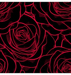 seamless pattern in roses with contours vector image