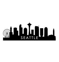 seattle skyline silhouette black seattle city vector image