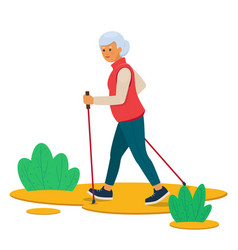 senior woman nordic walking in nature vector image
