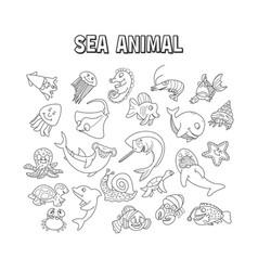 set element doodle sea animal set sea animal vector image
