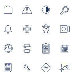 set of 16 icons for app sites software vector image