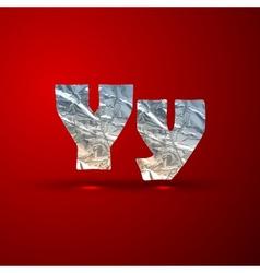 Set of aluminum or silver foil letters letter y vector