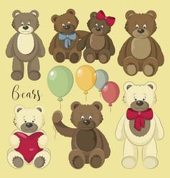 set of bear icon vector image
