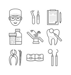 set of stomatological objects icons vector image