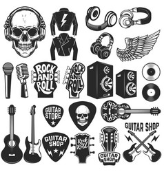Set of the rock music design elements guitar shop vector