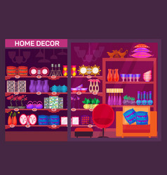 Showcase of shop with home decoration items vector