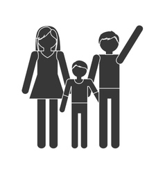 silhouette family mom dad and son together members vector image