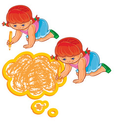 Small girl draw a speech bubble vector