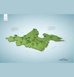 Stylized map bangladesh isometric 3d green map vector