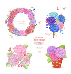 Summer set of hydrangeas wreath bouquets and vector