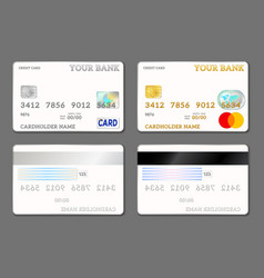 Template credit cards white color front and back vector