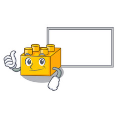 Thumbs up with board plastic building blocks vector