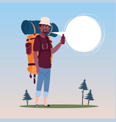 Traveler african american man with backpack happy vector