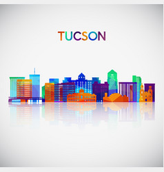 tucson skyline silhouette in colorful geometric vector image