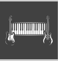 two guitars and piano keyboard vector image