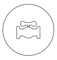 valve black icon in circle outline vector image