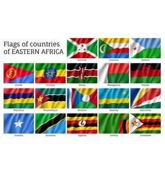 Waving flags east africa vector