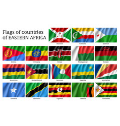 Waving flags of east africa vector