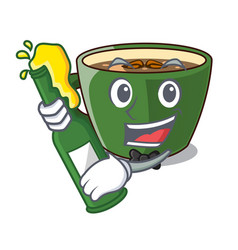 With beer indian masala tea isolated on mascot vector