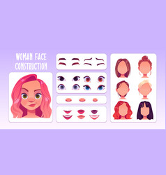 Woman face constructor avatar female character vector