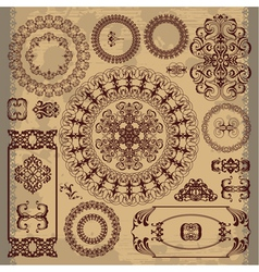 arabic pattern on brown background vector image vector image