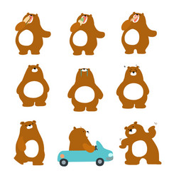 cute character brown bear variety action pack vector image vector image