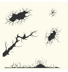 different cracks Set vector image