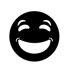 laughing emoticon style pictogram vector image