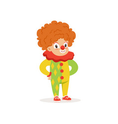 little boy dressed as a clown cute kid in vector image vector image